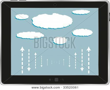 Computer Tablet ipad With Cloud Isolated On White