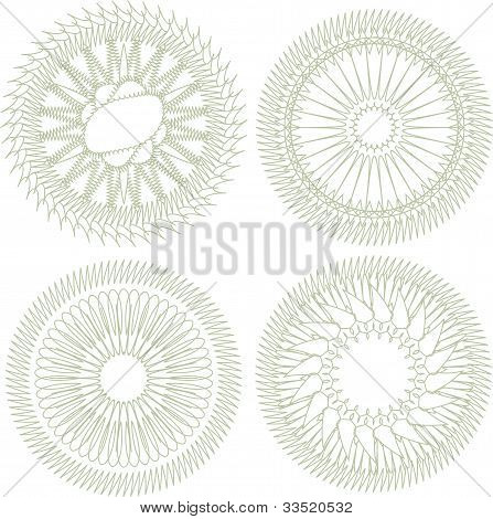 Vector Set Of Guilloche Rosette For Decor And Ornament