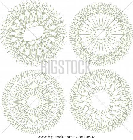Vector Set Of Guilloche Rosette For Decor And Ornament