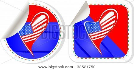 Usa National And Patriotic Concepts For Badge, Sticker