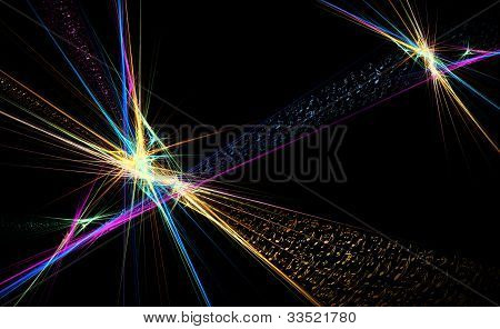 Music Notes Dancing Away, Colorful Illustration On Black Background,
