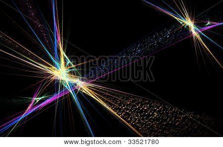 Notas de música dança ilustração longe, colorida em fundo preto,