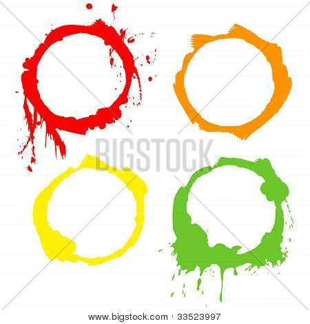 Grunge Background ink circles. Vector frames
