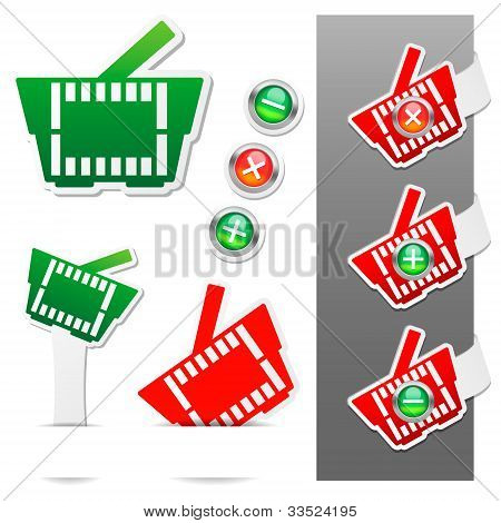 Shopping basket icon. Stickers Set. Vector