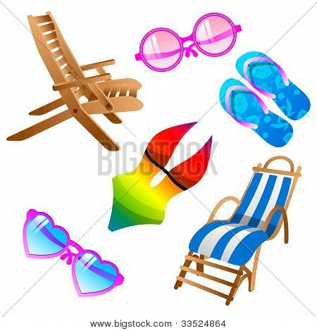 Summer Icons  Set. Vector
