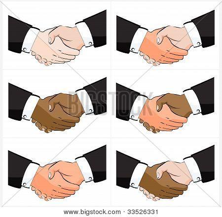 6 Business Handshake Illustrations Pack