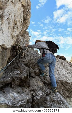 Female Hiker In Via Ferrata