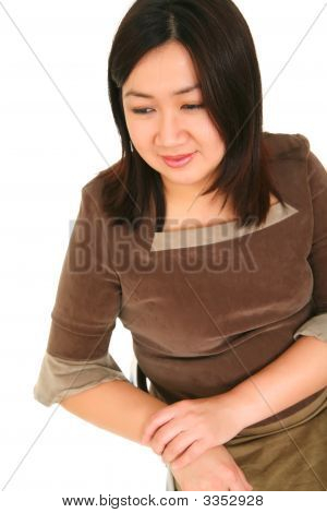 Isolated Asian Girl Thinking