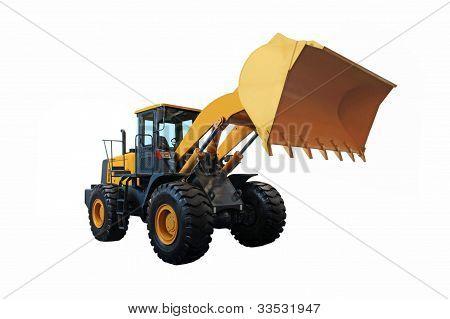 Una excavadora cargador