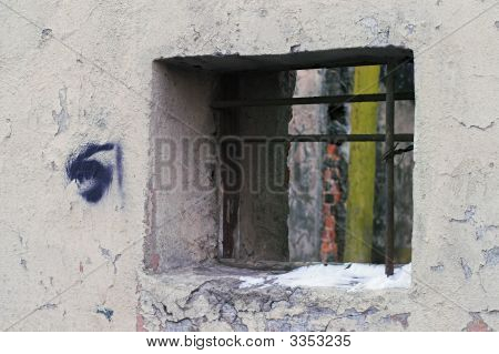Corroded Wall With Window In A Back Alley