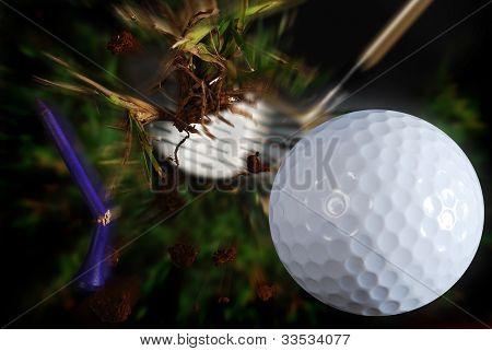 hitting golf ball
