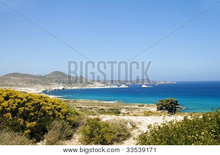 Limestone Beach Mediterranean Sea Milos Greek Island Cyclades Greece