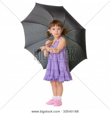 Little Girl With A Big Black Umbrella
