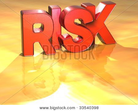 Word Risk On Yellow Background