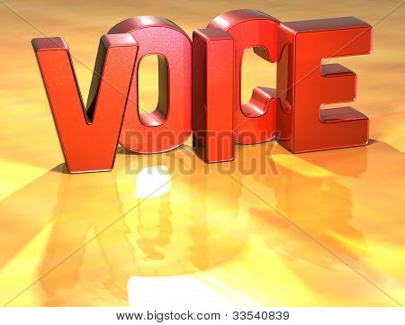 Word Voice On Yellow Background