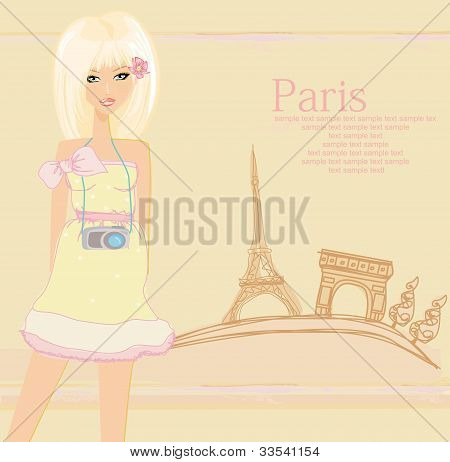 beautiful travel girl in Paris