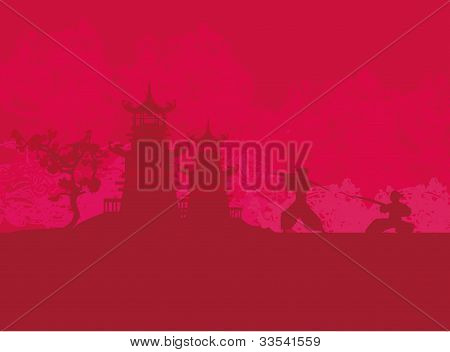 Samurai silhouette in Asian Landscape , vector illustration