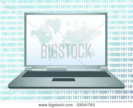 binary code laptop illustration design over white