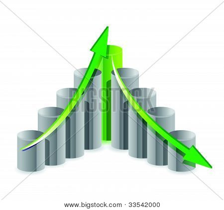 up and down business graph concept illustration design