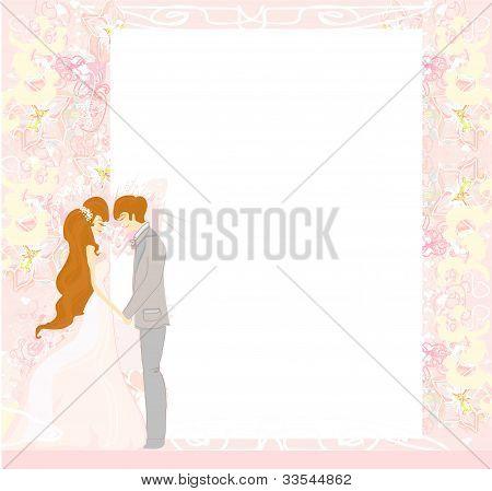 elegant wedding invitation with wedding couple , vector illustration