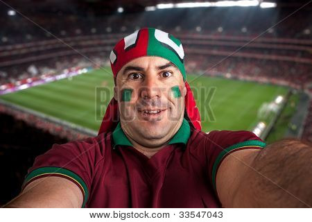 soccer fan stadium on the back with a portuguese