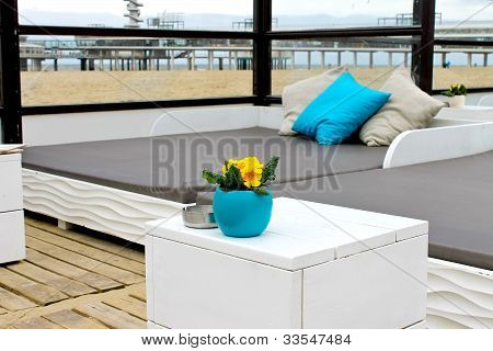 Spring On The Coast. Flowers On The Table In The Beach Club In The Hague. Netherlands. Den Haag