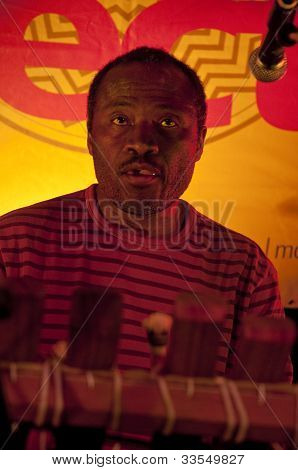 EXETER -  JUNE 2: Helele performing live in the World Big Top at the Exeter Respect Festival 2012 on