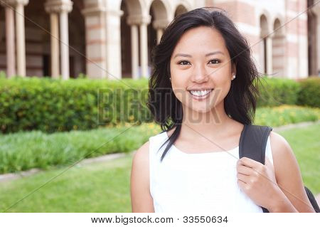 Portrait Of An Asian College Student On Campus