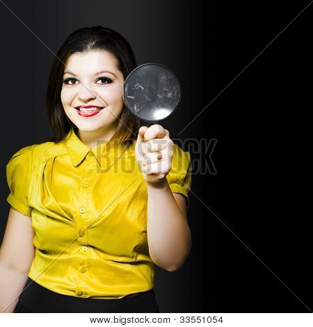 Woman With Magnifier Doing Data Recovery