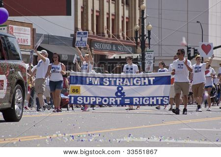 Salt Lake City, Utah - June 3: Pride Parade Participants Marching In Downtown On June 3Rd 2012, Salt