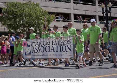 Salt Lake City, Utah - June 3: Utah Gay Fathers Association Members Marching In The Pride Parade Wit
