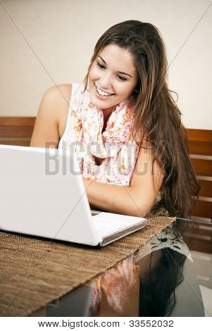 Pretty Student Using Her Laptop