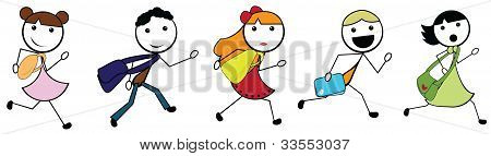 Cartoon Stick Children Going To School