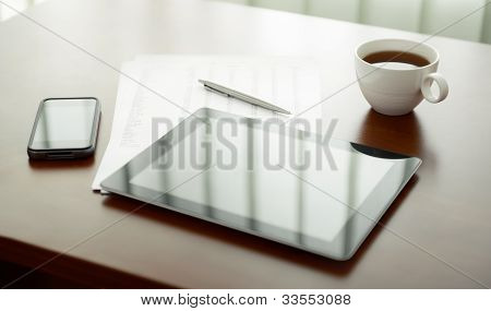 Modern Workplace With Digital Tablet