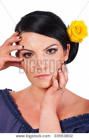 Woman Holding Her Face With Natural Makeup