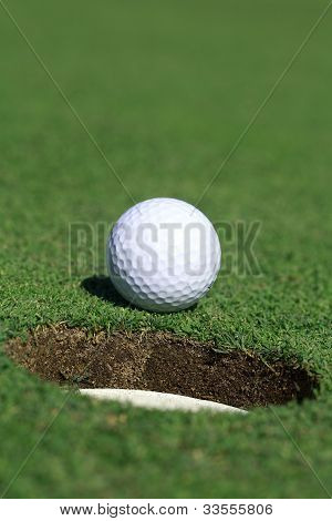 Ball approaching the hole