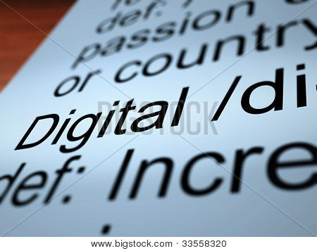 Digital Definition Closeup Showing Binary Values