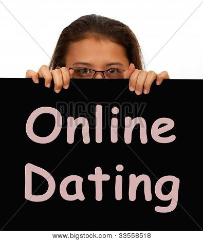 Online Dating Sign Showing Web Romance