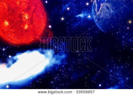Abstract Earth, Space And Star Background