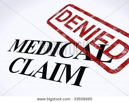 Médico reclamación denegada estampilla muestra fracasada médica reembolso