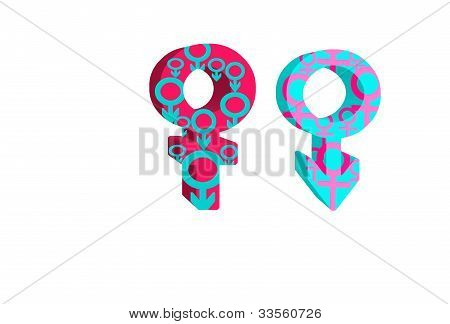 sex symbol of male and female on isolated white