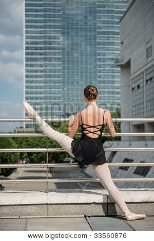 Ballet dancer dancing on street
