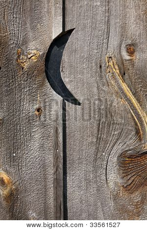 Barnwood Outhouse Door With Crescent Moon