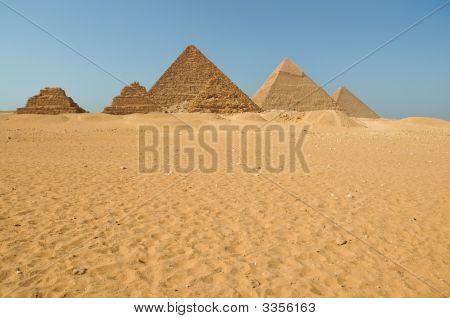Egyptian Pyramids In The Desert