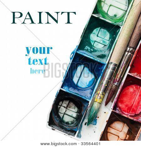 Palette Of Watercolor Paints.