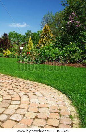 Schöner Garten und Pfad