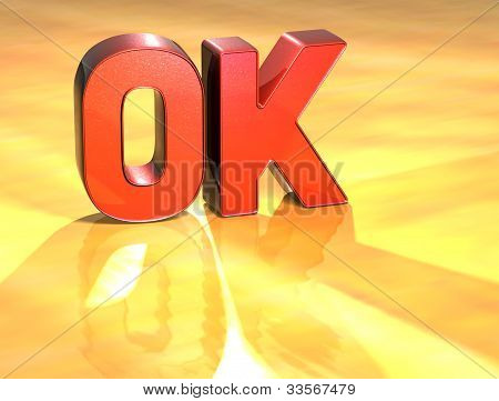 La palabra Ok sobre fondo amarillo