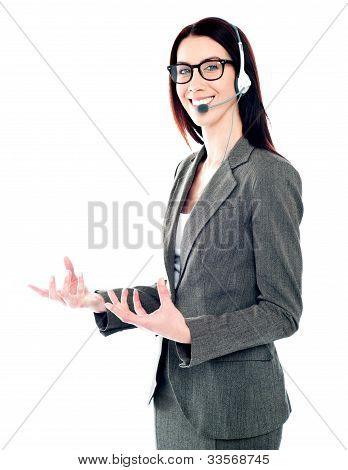 Smiling Telemarketing Girl Posing In Headsets