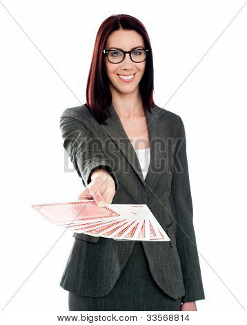 Smiling Woman With Playing Cards