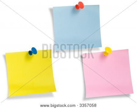 Three Notes With Thumbtack Isolated, Path Provided.
